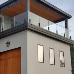 Glass railing for balcony in home