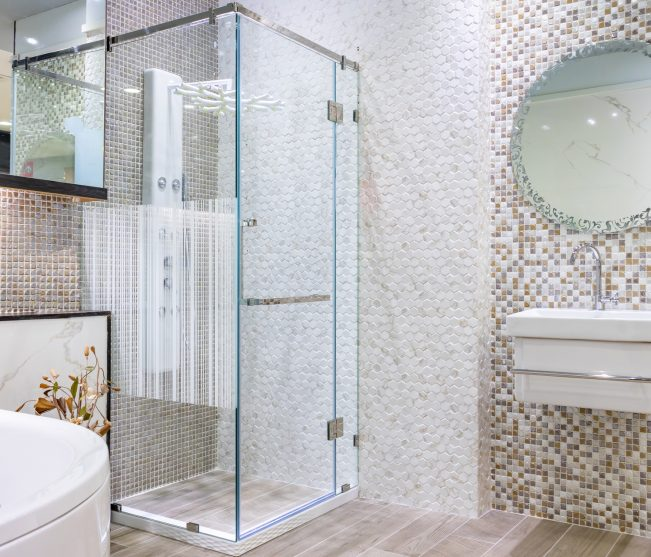 Completed modern bathroom renovation
