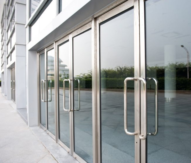Newly installed commercial glass doors