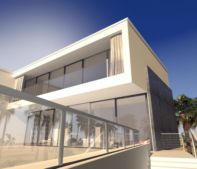 House with Glass Railings and Glass Door